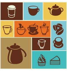 Set of coffee and tea icons vector