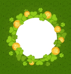 Celebration card with shamrocks and golden coins vector