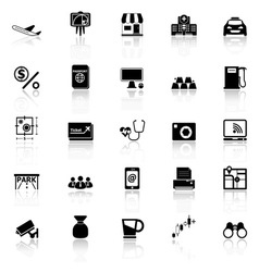 Application icons with reflect on white background vector