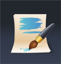 Blank note paper with brush vector