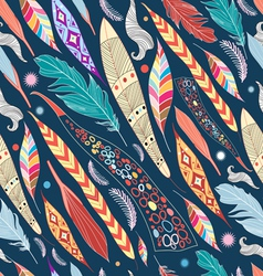 Leaves and feathers pattern vector