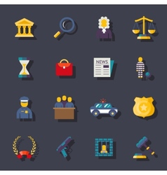 Flat law icons set vector
