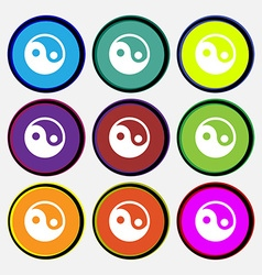 Ying yang icon sign nine multi-colored round vector