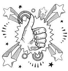 Doodle pop thumbs up vector