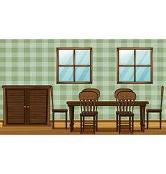 A dinning table and wardrobe vector