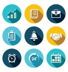 Office business flat icons set vector