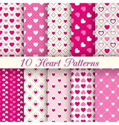 Heart shape seamless patterns black and white vector