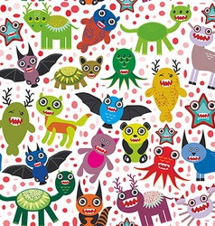 Cute cartoon monsters seamless pattern white vector