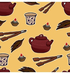 Chinese tea ceremony pattern vector