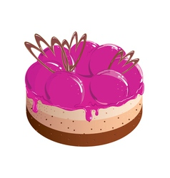 Painted pink cake with berry jam vector