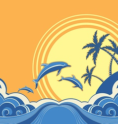 Seascape poster with dolphins vector