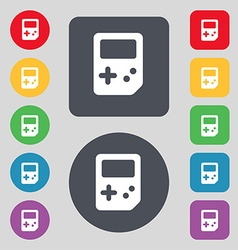 Tetris icon sign a set of 12 colored buttons flat vector