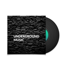 Black vintage vinyl record and black underground vector