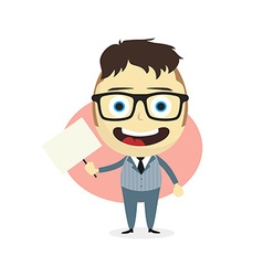 Businessman holding blank sign vector