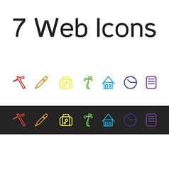 Set of life icons work hospital business trip vector