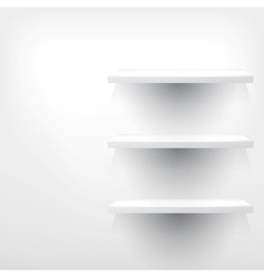 Empty white wooden shelf at the wall vector