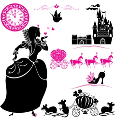 Fairytale set - silhouettes of cinderella vector