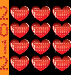Stylish calendar with red hearts for 2012 sundays vector