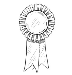 Doodle award ribbon vector