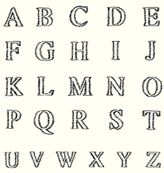 Short line alphabet freehand font vector