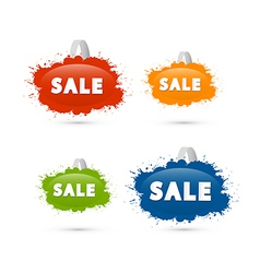 Colorful sale blots icons vector