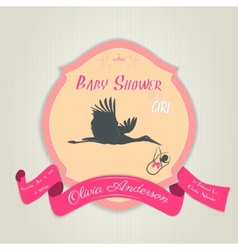 Baby shower invitation with flat stork flying with vector
