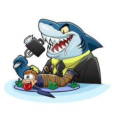 Hungry business shark vector