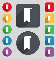Bookmark icon sign a set of 12 colored buttons and vector