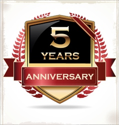 5 years anniversary golden label vector