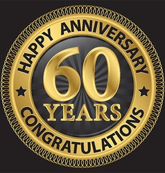 60 years happy anniversary congratulations gold vector