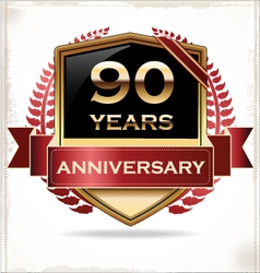 90 years anniversary golden label vector