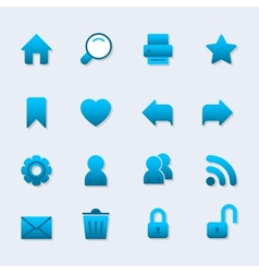 Basic iconset for web design gradient with shadow vector