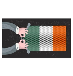 Hand made flag of ireland vector