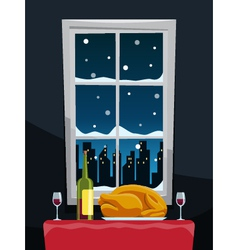 Romantic dinner with turkey on table near window vector