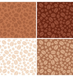 Set - coffee beans brown seamless patterns vector