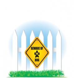 Beware of dog yellow sign vector