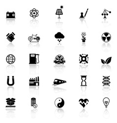Renewable energy icons with reflect on white vector