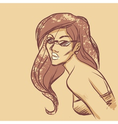 Sketch of woman portrait vector