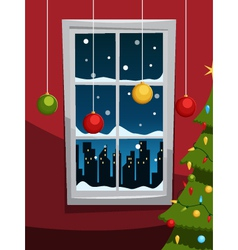 Christmas night with tree and window vector