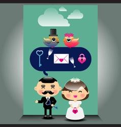 An of cute wedding icons vector