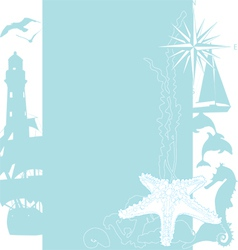 Sea background with silhouettes vector