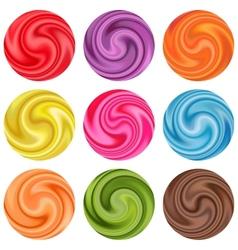 Set of yogurt cream curl or lollipop vector