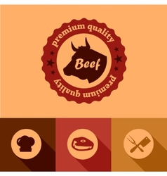Flat beef design elements vector