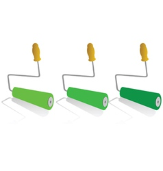 Roller for painting in green color vector
