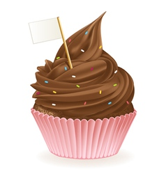 Chocolate flag cupcake vector