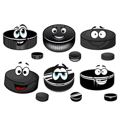 Cartoon black ice hockey pucks characters vector