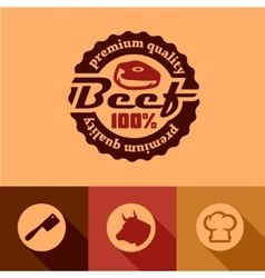 Flat beef labels vector