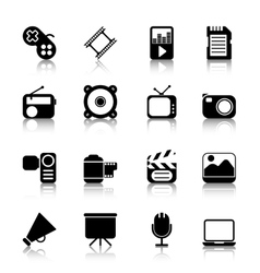 Multimedia icons with reflection vector