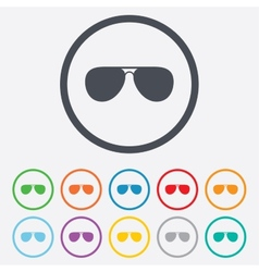 Aviator sunglasses sign icon pilot glasses vector