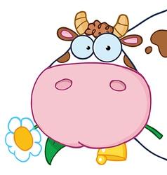Cow head cartoon character vector